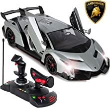 Best Choice Products 1/14 Scale Remote Control Luxury Car Lamborghini Veneno Toy for Kids w/ Gravity Sensor, Engine Sounds, Head and Rear Lights, Opening Door - Silver