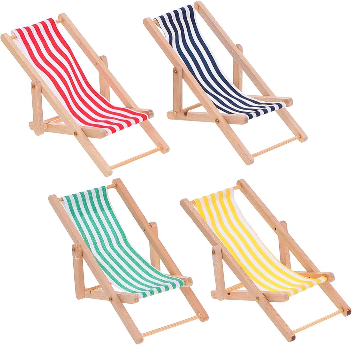Cabilock 4Pcs Miniature Deluxe Beach Chair Deck Dollhouse 1: 12 Longue Regular discount