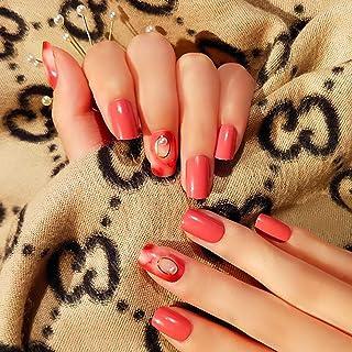 Sethexy Pink Glossy False Nails Bling Pearl Short Square Fake Nails Full Cover Acrylic 24Pcs Nails Tips for Women and Girls