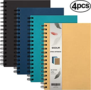 """$22 » EOOUT 4 Pack Spiral Notebook, Hardcover College Ruled Notebooks, 3 Subject Notebook with Removable dividers, 4 Assorted Colors, 5.5""""x8.5"""""""