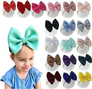 EzonYanGo 18 Pcs Baby Bows Nylon Headbands Elastic Headbands with Hair Bows Large Bows Headwraps Cute Hair Hoops for Littl...