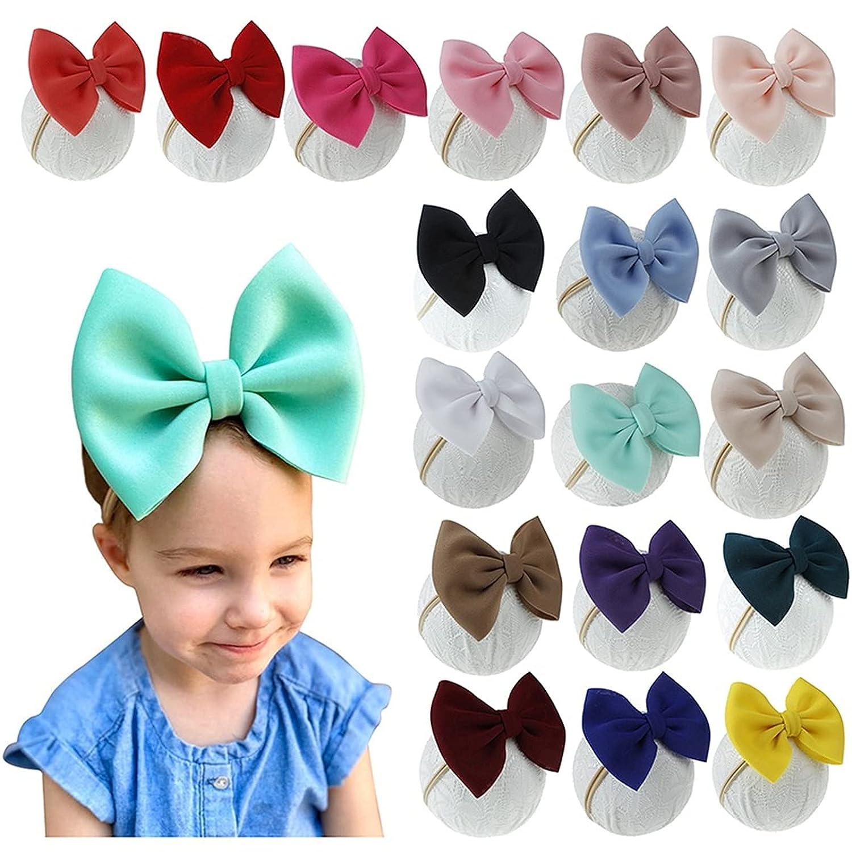 EzonYanGo 18PCS Baby Girl Headbands Baby Big Bows Headbands Baby Flower Headbands Bows Girl Elastic Headbands Hair Accessories for Newborn Infant Growing Babies Toddler