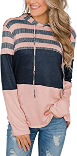 SWEET POISON Womens Pullover Sweatshirt Color Block Hoodie Striped Long Sleeve Tops