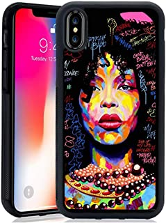 for iPhone XR Case -Afro Girls, African American Women Girls Slim Fit Design-Soft TPU+Luxury Tempered Mirror Protective for iPhone XR Case (F)