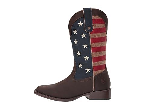 Vintage marrón Roper de cuero American bandera con artificial Patriot eje Ew66txqU