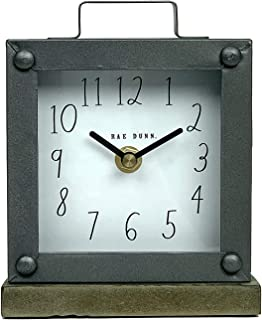 Rae Dunn Desk Clock - Battery Operated Modern Rustic Design with Wooden Base, Top Handle for Bedroom, Office, Kitchen - Small Classic Analog Display - Chic Home Décor for Desktop Table, Countertop