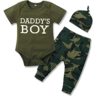 GRNSHTS Newborn Baby Boys Girls Clothes Outfits Camouflage Short Sleeve Letter Romper+Long Pants Set with Hat