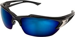 Edge Eyewear TSDKAP218 Khor Safety Glasses, Black with Polarized Aqua Precision Blue Mirror Lens