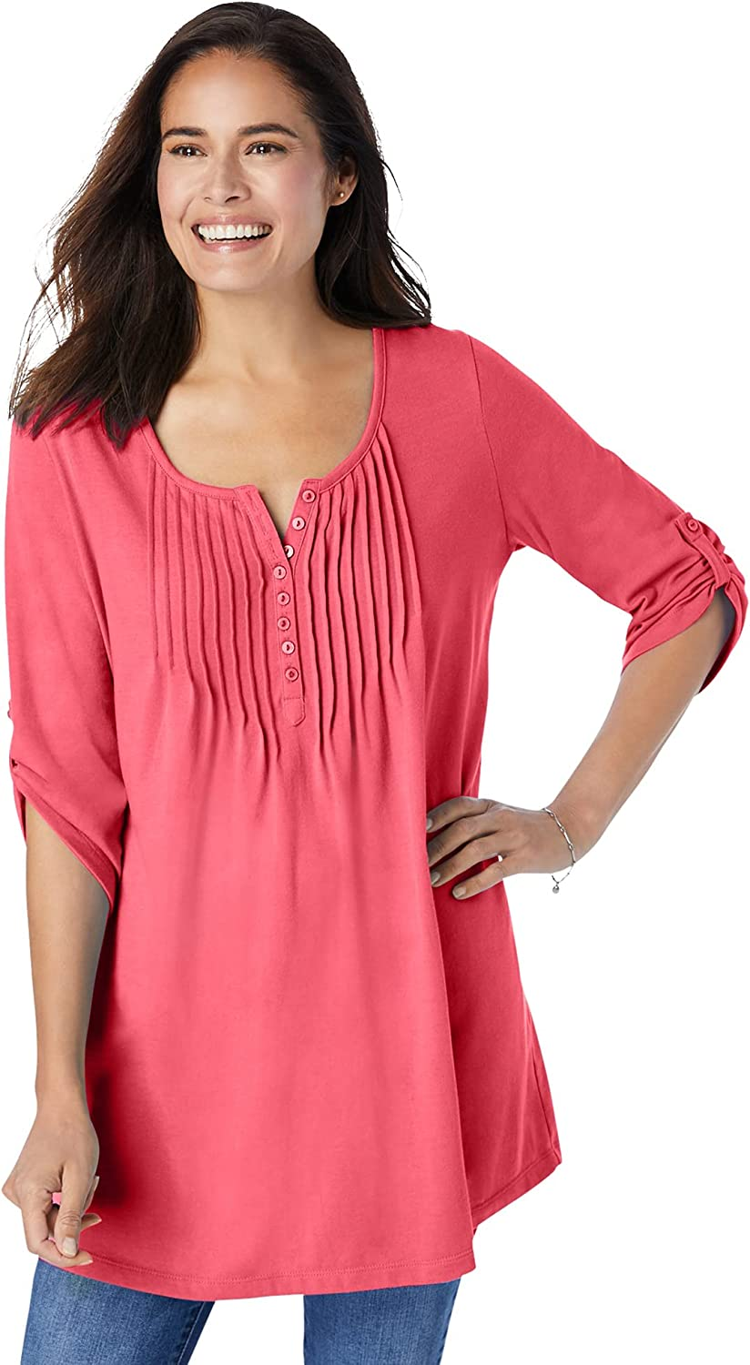 Woman Within Women's Plus Size Three-Quarter Sleeve Pintucked Henley Tunic