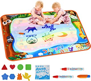VSATEN Doodle Drawing Mat, Aqua Magic Water Mat Coloring 7 Rainbow Painting Board Toddler Toys Educational Learning Birthday Gift Travel Toy for Age 2 3 4 5 6 7 Year Old Girls Boys Kids 39.5