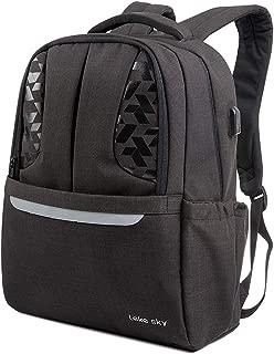 Lekesky Laptop Backpack 15.6 Inch Travel Backpack with USB Charging Port Large Black Computer Bag for Women & Men