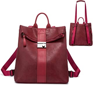 Realer Rucksack Damen, Elegant Rucksacktasche Rucksackhandtasche 2 in 1, Wasserdichte Handtasche als Rucksack Lederrucksac...