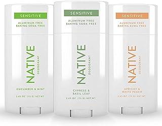 Native Deodorant 3 Pack Sensitive - Natural Deodorant for Women and Men - Baking Soda Free - Naturally Derived Ingredients...