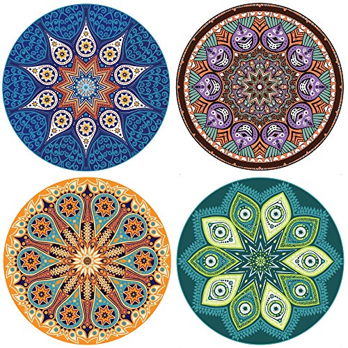 ENKORE Absorbent Coaster For Drinks - 8 Pack Large 4.3' Size Ceramic Thirsty Stone With Cork Back Fit Big Cup, 2 COASTERS For Each Design, No Holder - 4 Pretty Mandala Patterns Make A Home Decor Style
