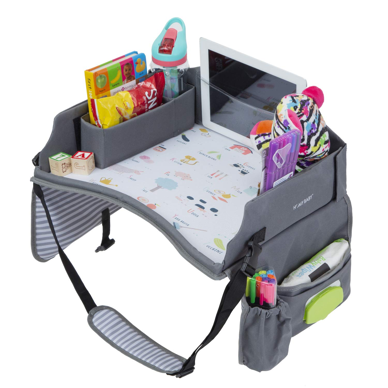 Premium Kids Travel Tray Car Seat, Waterproof Surface, Alphabet Design. Car Seat Lap Tray, Snack, Play Tray and Organizer. for Car seat Front and Rear Facing. 16.5 x 13.5 Inches (Gray/White)