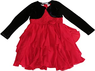 Blueberi Boulevard Girls 2-Piece Red Dress with Black Cardigan