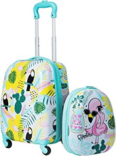 HONEY JOY 2Pc Kids Luggage Set, 12'' Backpack & 16'' Rolling Suitcase, Hard Shell Trolley Suitcase with Spinner Wheels, Carry On Luggage Set for Boys and Girls Travel (Flamingo)