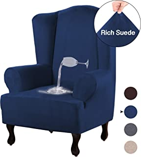 Turquoize Stretch Wing Chair Slipcover Wingback Armchair Chair Slipcovers Sofa Covers 1-Piece Spandex Fabric Wing Back Wingback Armchair Chair Slipcovers(Wing Chair, Navy)