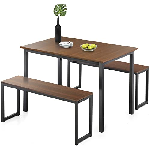 Homury Modern Studio Soho Dining Table With Two Benches 3 Piece Set,Brown