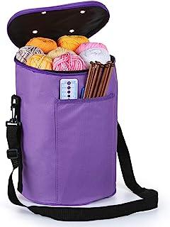 LEMESO Stockage de Laine, Sac à Tricoter Portable pour Rangement pour Fils Textiles, Sac Fourre-Tout Compartiments pour St...