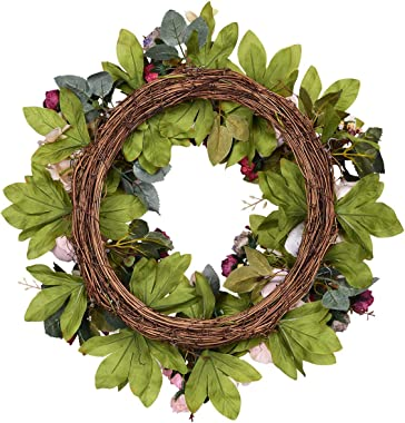 """Sunm Boutique Artificial Peony Flower Wreath, 15.7"""" Silk Peony Flower Door Wreath with Green Leaves, Vintage Blooming Peony Wreath for Front Door Wedding Wall Home Decor"""