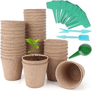 3.15'' Peat Pots Plant Starter Kit, Organic Biodegradable Plant Pot for Vegetable & Herb Seeds, with Plant Labels & Garden...