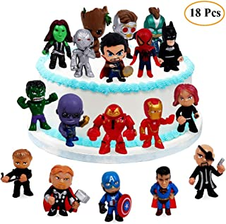18PCS The Avengers and Superheroes Cake Topper, Children Mini Toys Cupcake Toppers for Birthday Party Supplies