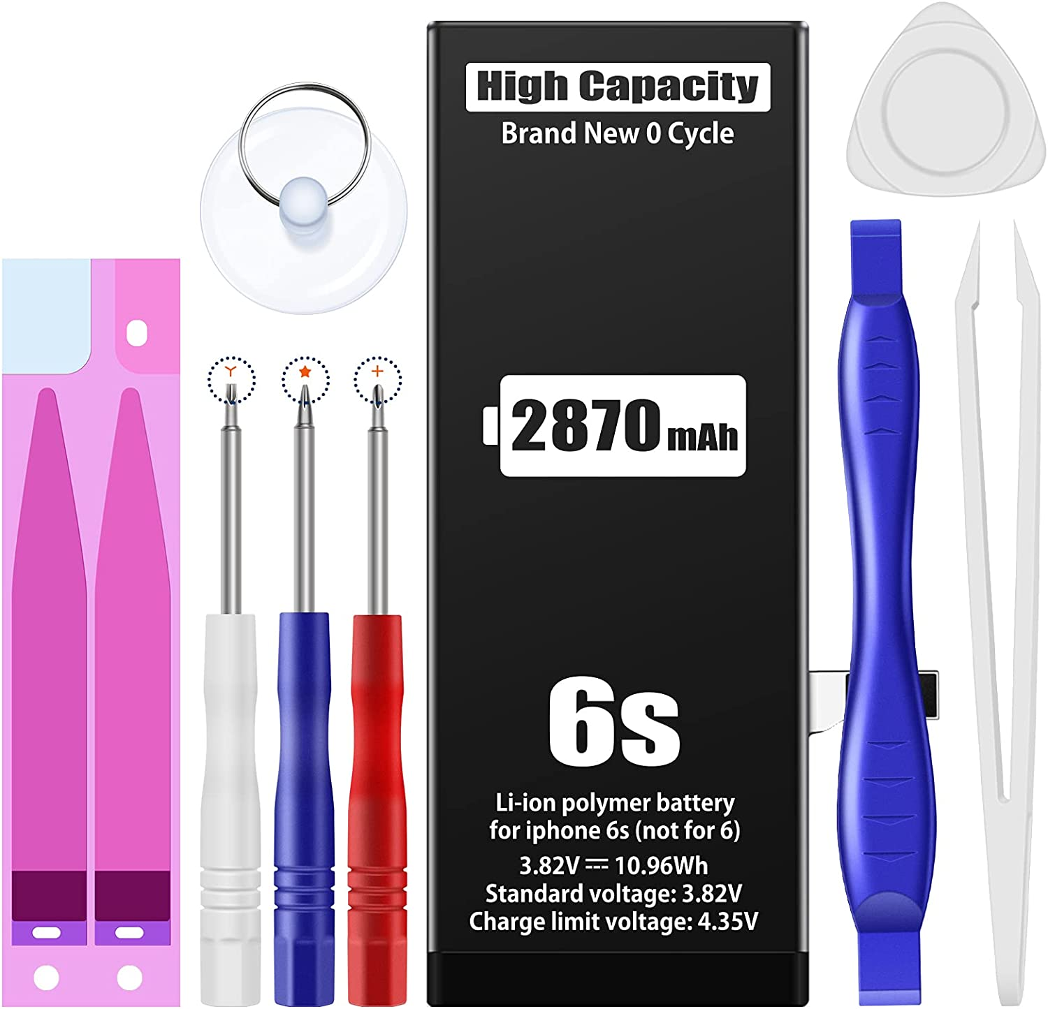 〔2870mAh〕Battery for iPhone 6s, Replacement Battery with High Capacity for iPhone 6s with Full Remove Tool Kit
