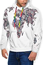 GULTMEE Men's Hoodie Thicken Fluff Sweatshirt,Paisley Leaves Ornamental Eastern Style Old Fashioned Design