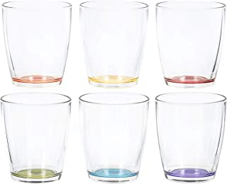 Red Co. Clear Short Tumbler Glass with Colored Base for Iced Tea Cups, Drinking Gl Water Juice Soda Beverage Tumblers, Set...