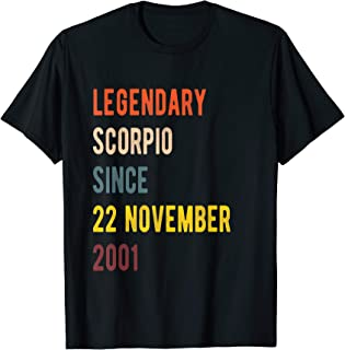 Scorpio Legend Since 22 November 2001 Vintage Retro Birthday T-Shirt