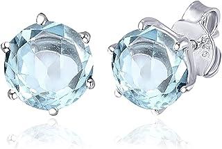 الأزرق الزبرجد 3.15 قيراط جولة 925 الفضة الاسترليني الحرة أقراط مسمار هدايا عيد الميلاد للنساء من أوركيد جيويلري
