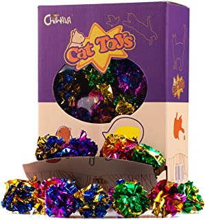 """Chiwava 24PCS 1.6"""" Mylar Balls Shiny Crinkle Cat Toys Ball Kitten Crackle Lightweight Play Assorted Color"""