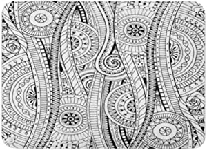 Bath Mat Flannelette Fabric Soft Absorbent Doodle in Doodles Flowers and Paisley Ethnic Pattern Fills Coloring Books Pages...