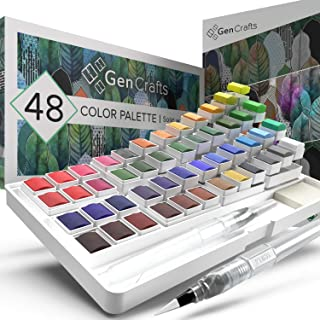 GenCrafts Watercolor Palette with Bonus Paper Pad Includes 48 Premium Colors - 2 Refillable Water Blending Brush Pens - No...