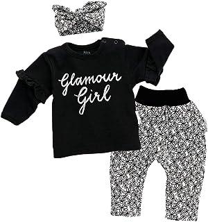 Baby Sweets 3er Set Mädchen-Baby-Bekleidung mit Hose, Oberteil & Baby-Accessoire mit Haarband oder Baby-Mütze / 3-TLG. Baby-Set Erstausstattung für Neugeborene & Kleinkinder in verschiedenen Größen