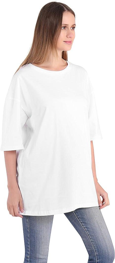 Largas Camisetas Mujer Verano Casual Blanco Negro Algodón Basicas Anchas Túnica Camisas Tops Tallas Grandes Oversize