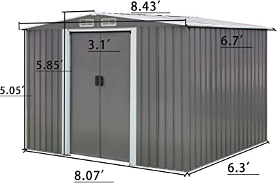 Amazon.com: KINYING Horizontal Storage Sheds Outdoor with ...