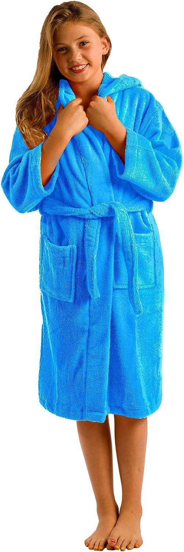 Plush Terry Cotton Hooded Robe Bathrobe, X-large, Aqua