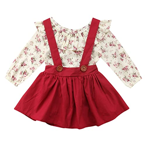 b86f2724df8 Baby Girl 2pcs Outfits Floral Long Short Sleeve Ruffled T-Shirt  Top+Suspender