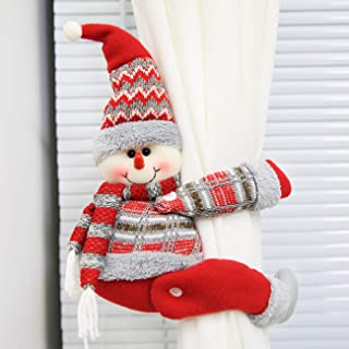 Picturesque 2 Pieces Christmas Curtain Buckles Holder Cute Snowman Curtain Tiebacks for Xmas Home Decor Window Accessories