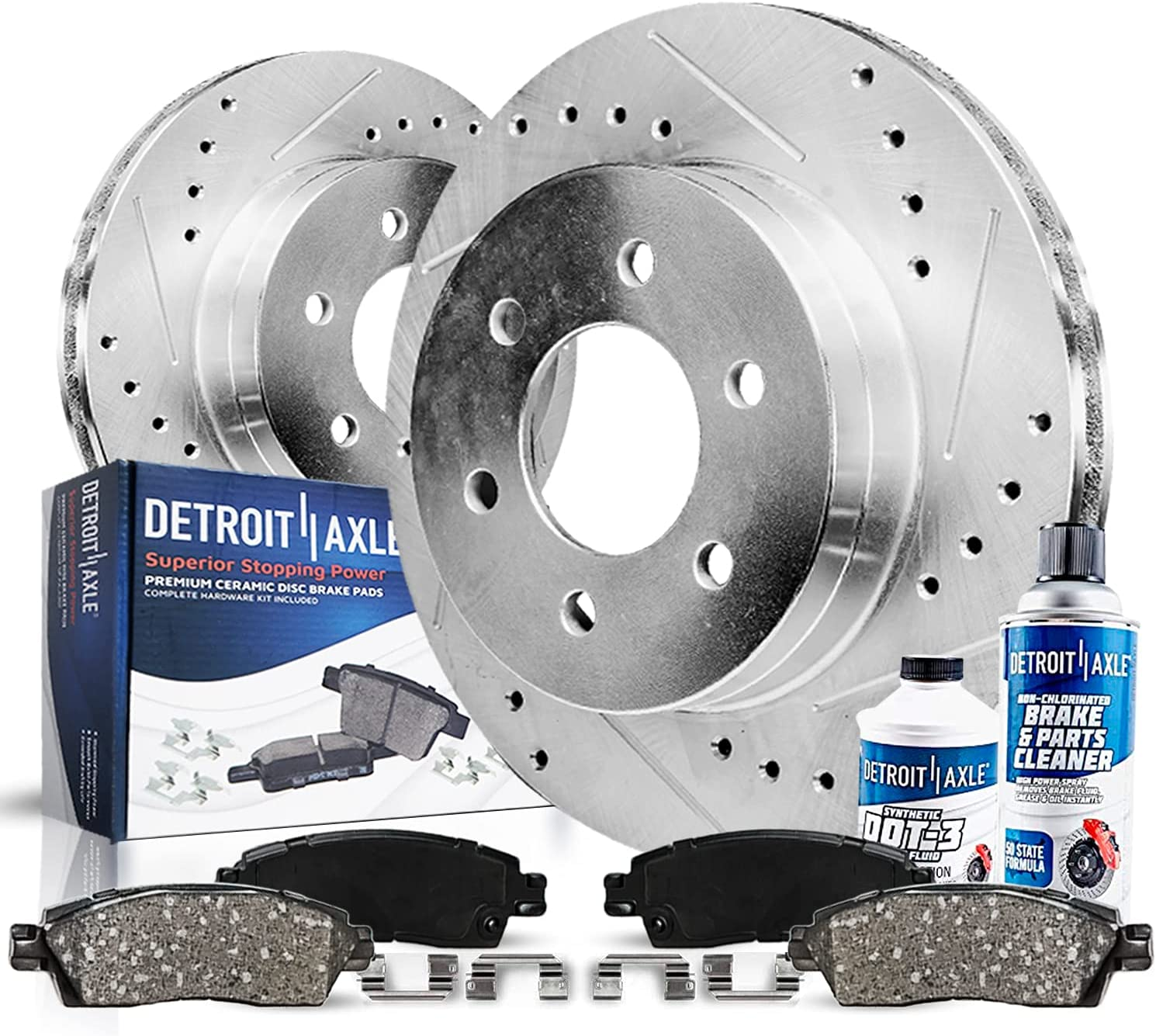 Detroit Axle - 319mm Front Drilled Ceramic mart Slotted + Br Special price Rotors