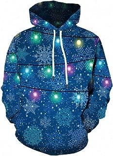 iZHH Men Christmas 3D Print Plus Hooded Sweatshirt Casual Pullover Hoodie Pocket