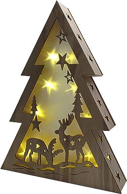 Jipai LED Weihnachtsdekoration Beleuchtung Fensterbeleuchtung sch/öner Holzstern mit warmwei/ßen Weihnachtsbeleuchtung Holzdekoration Stern//Schneemann