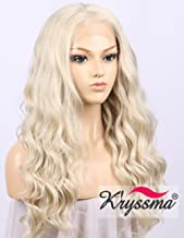 K'ryssma Platinum Blonde Lace Front Wig for Women Half Hand Tied Long Wavy Synthetic Wigs Blonde Colour Body Water Wave Lace Front Long Blonde Wig Middle Part Glueless Heat Resist 22 Inch
