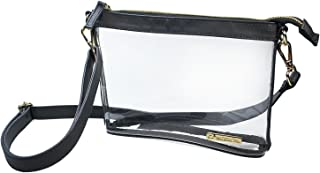 Capri Designs Clear Crossbody Bag, Transparent Stadium Approved Purse for Women, Large or Small Size, PVC with Accents