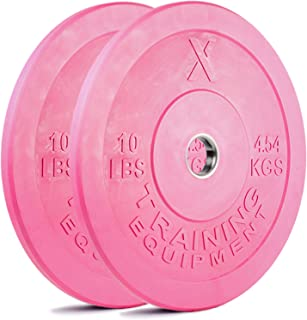 X Training Equipment Premium Pink Olympic Bumper Plate Solid Rubber with Steel Insert - Great for Crossfit Workouts
