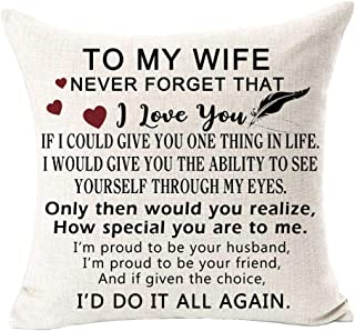 Andreannie Best to My Wife Never Forget That I Love You Cotton Linen Decorative Throw Pillow Cover Cushion Case for Sofa L...