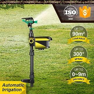 Lawn Sprinkler, KKmoon Solar Powered Motion Activated Animal Repeller Garden Sprinkler Scarecrow Animal Drive Water Sprinkler Automatic Rotating Lawn Irrigation System Adjustable Large Area
