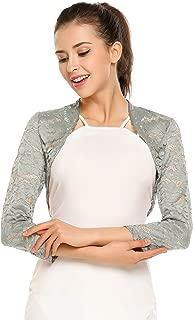 Zeagoo Women's 3 4 Sleeve Bolero Shrugs Crochet Lace Open Cardigan